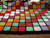 Large Bedspread multi colour with black borders