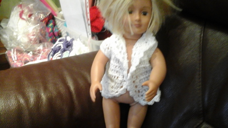 Premature Baby or Our Generation Doll Cardigan lace look style